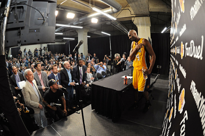 Kobe Bryant speaks to reporters after his final NBA game April 13, 2016, at Staples Center.