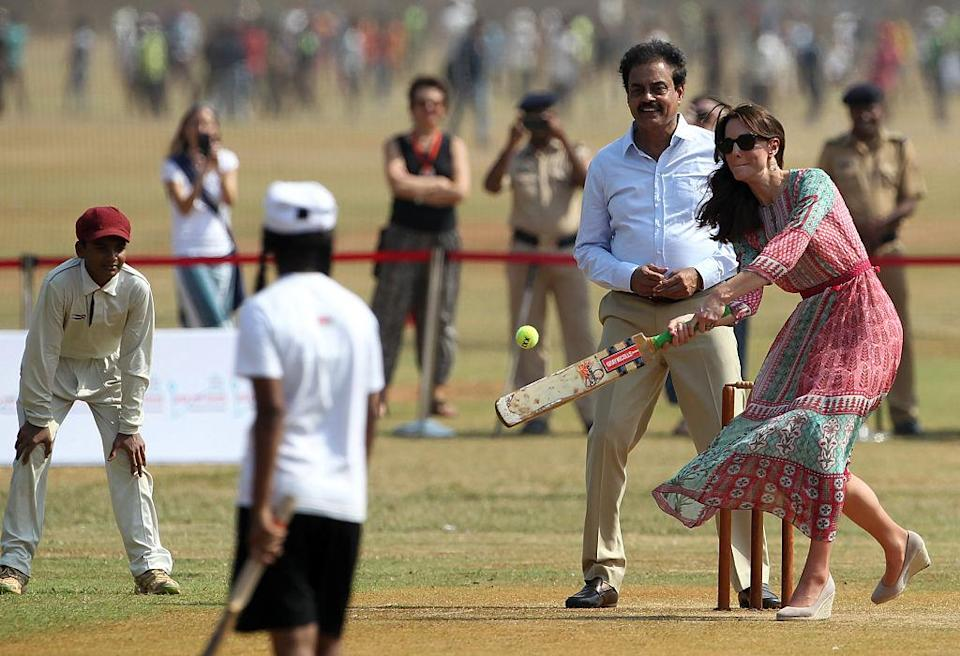 <p>The Duchess of Cambridge is a self-confessed fan of sport and proved she can play cricket at Oval Maidan when she joined in a game on 10 April 2016 during the couple's week-long trip to India and Bhutan. <em>[Photo: Getty]</em> </p>
