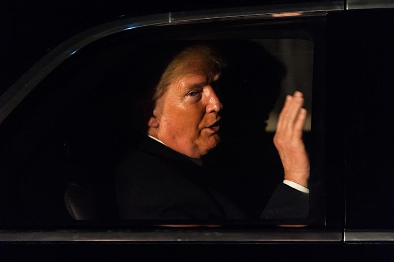 US President Donald Trump leaves 10 Downing Street in his state car. Photo: Getty