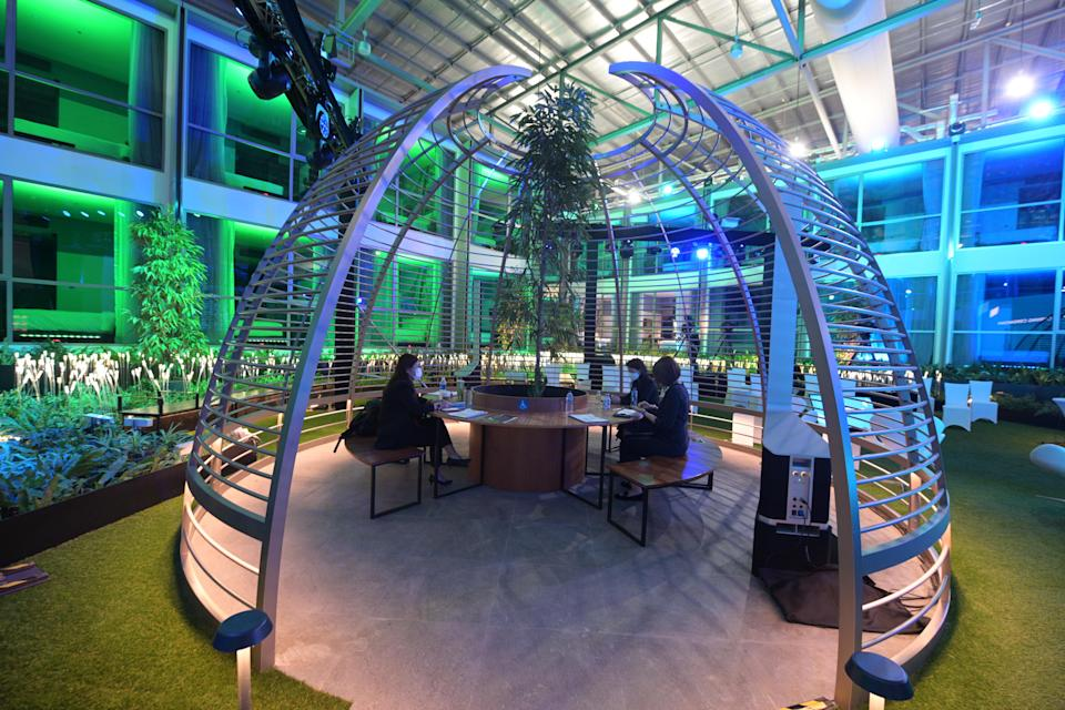 The courtyard at the Connect@Changi facility in Singapore.