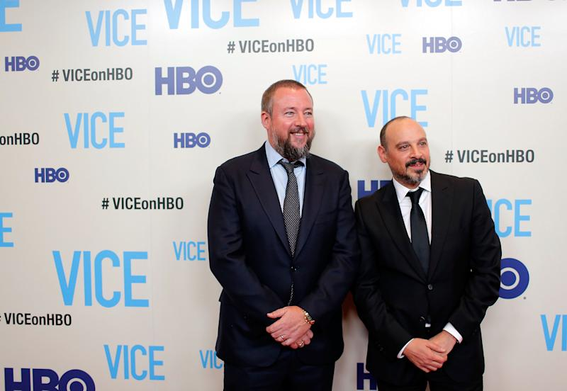 "Host and executive producer Shane Smith and executive producer Eddy Moretti attend the ""Vice"" New York Premiere at Time Warner Center on April 2, 2013 in New York City"