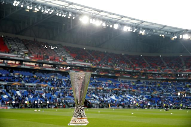 Soccer Football - Europa League Final - Olympique de Marseille vs Atletico Madrid - Groupama Stadium, Lyon, France - May 16, 2018 General view of the Europa League trophy before the match REUTERS/John Sibley