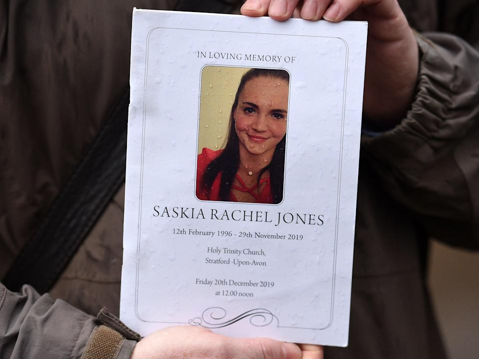 The order of service is pictured for the memorial of Saskia Jones on December 20, 2019AFP/Getty