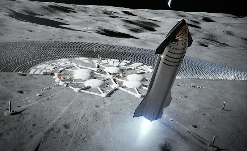 Artist's rendering of a SpaceX Starship taking off from a Moon base