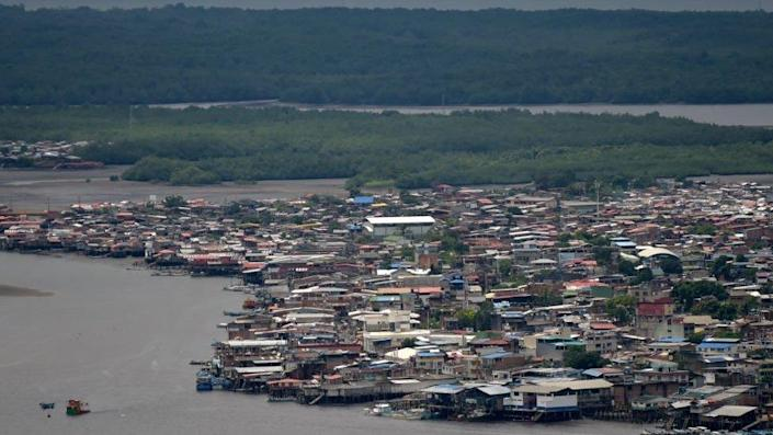 This photo shows an aerial view of Tumaco, Narino Department, Colombia, on February 26, 2020