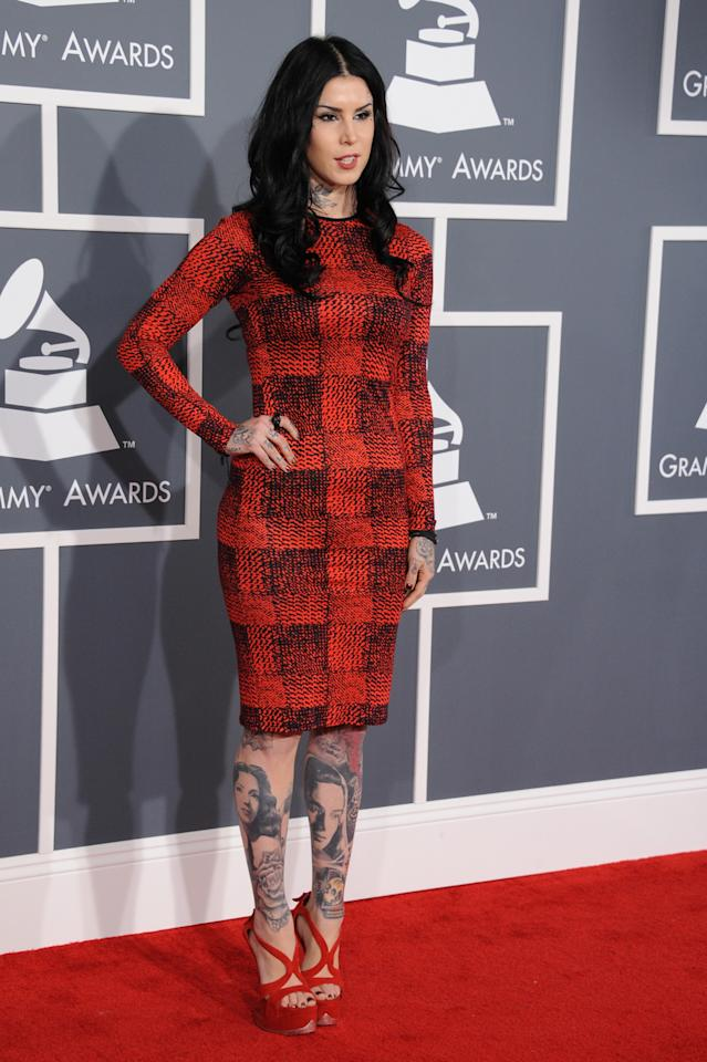 Kat Von D arrives at the 55th Annual Grammy Awards at the Staples Center in Los Angeles, CA on February 10, 2013.