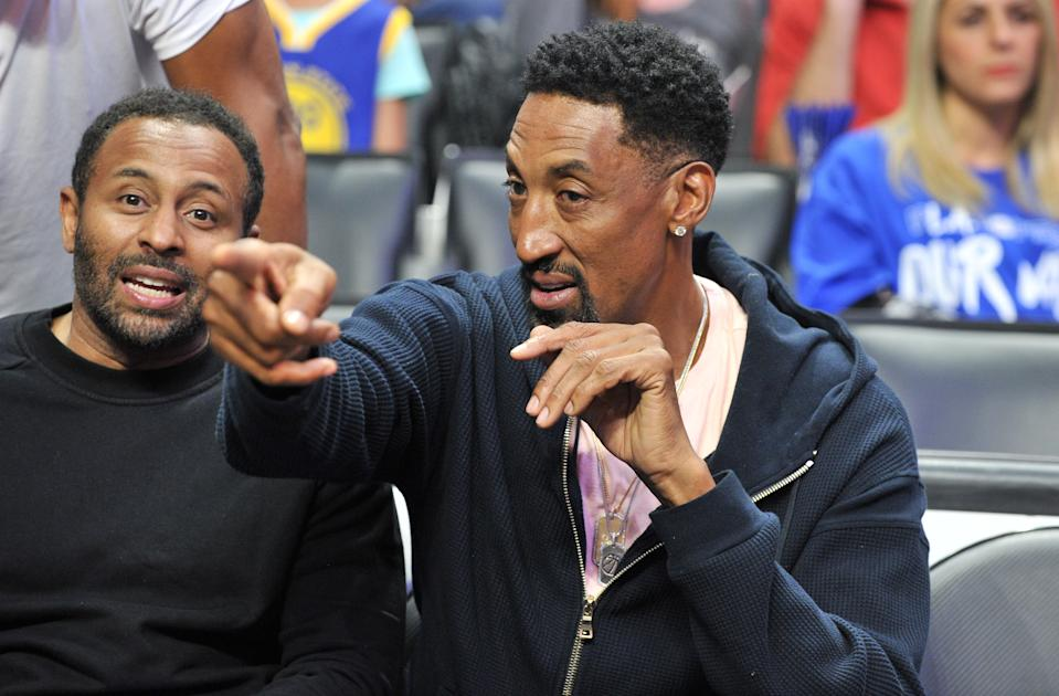 Scottie Pippen attends an NBA playoffs basketball game between the Los Angeles Clippers and the Golden State Warriors at Staples Center on April 18, 2019 in Los Angeles, California. (Photo by Allen Berezovsky/Getty Images)