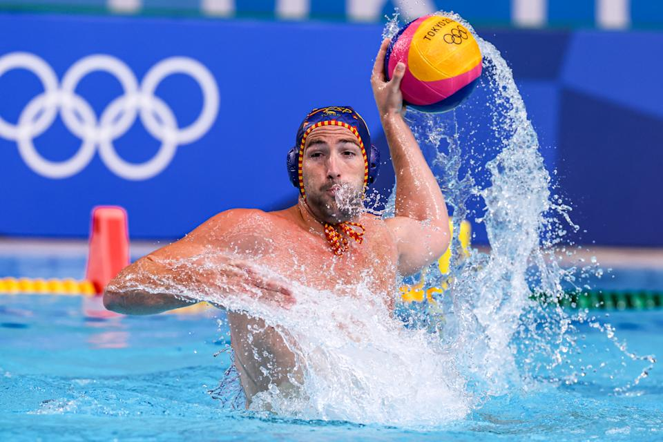 TOKYO, JAPAN - JULY 27: Blai Mallarach of Team Spain during the Tokyo 2020 Olympic Waterpolo Tournament men match between Montenegro and Spain at Tatsumi Waterpolo Centre on July 27, 2021 in Tokyo, Japan (Photo by Marcel ter Bals/BSR Agency/Getty Images)