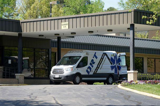PHOTO: An ambulance is seen outside the Canterbury Rehabilitation & Healthcare Center in Richmond, Virginia, April 16, 2020. (Kevin Lamarque/Reuters, FILE)