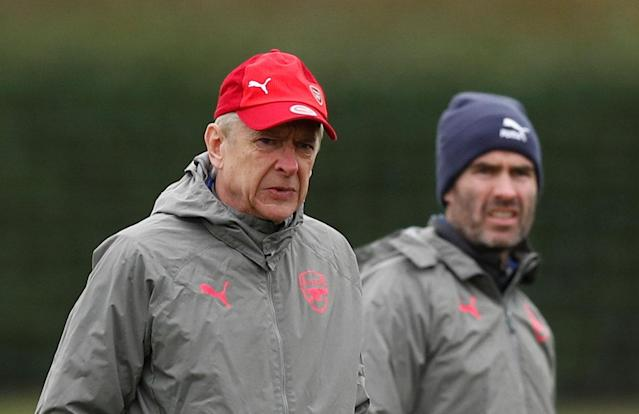 Soccer Football - Europa League - Arsenal Training - Arsenal Training Centre, St Albans, Britain - February 14, 2018 Arsenal manager Arsene Wenger and head of performance Shad Forsythe during training Action Images via Reuters/Peter Cziborra
