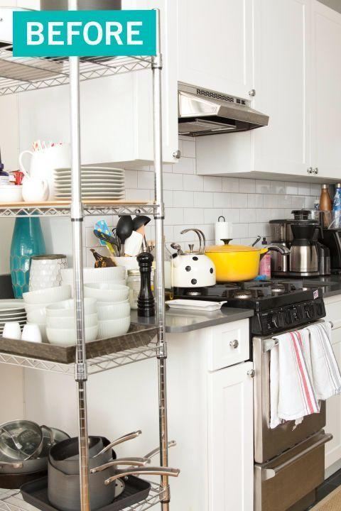 """<p>With too much stuff and not enough cabinets for storage, this kitchen was stuck with an <a href=""""https://www.housebeautiful.com/lifestyle/organizing-tips/g4436/kitchen-organization-makeover/"""" rel=""""nofollow noopener"""" target=""""_blank"""" data-ylk=""""slk:eyesore of a shelf"""" class=""""link rapid-noclick-resp"""">eyesore of a shelf</a> smack dab in the middle of it. </p>"""