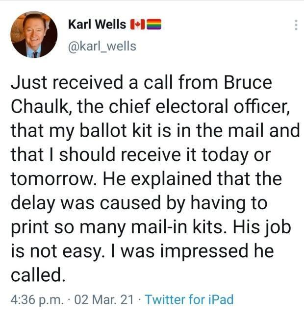 Former CBC broadcaster Karl Wells tweeted his thanks to the province's chief electoral officer, Tuesday, after receiving a call from Bruce Chaulk.