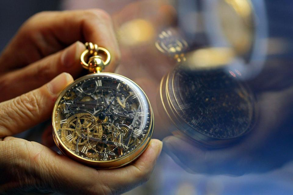 """<p>If you happen to find one of these beautiful timepieces tucked away at a garage sale you might want to buy it. Pocket watches can sell for mega-money, like the world's most expensive, a 1920 Patek Philippe Supercomplication. In 2014 it sold for <a href=""""https://www.forbes.com/sites/arieladams/2014/11/12/24000000-patek-philippe-supercomplication-pocket-watch-beats-its-own-record-at-auction/"""" rel=""""nofollow noopener"""" target=""""_blank"""" data-ylk=""""slk:$24-million"""" class=""""link rapid-noclick-resp"""">$24-million</a>.</p>"""