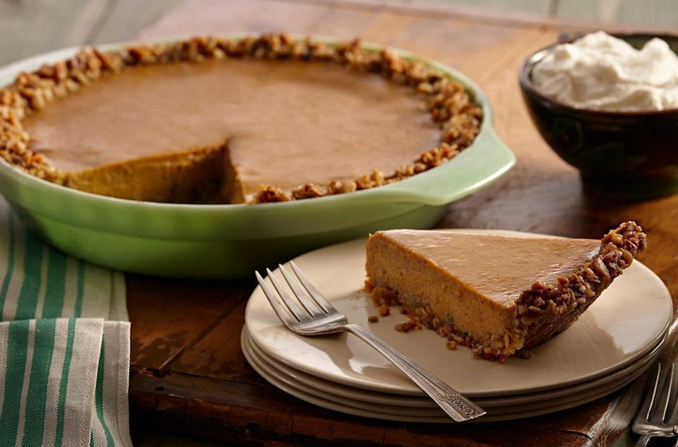 """<p>One of the main <a href=""""https://www.thedailymeal.com/holidays/thanksgiving-supermarket-tips?referrer=yahoo&category=beauty_food&include_utm=1&utm_medium=referral&utm_source=yahoo&utm_campaign=feed"""" rel=""""nofollow noopener"""" target=""""_blank"""" data-ylk=""""slk:Thanksgiving grocery shopping tips"""" class=""""link rapid-noclick-resp"""">Thanksgiving grocery shopping tips</a> is to plan ahead. This year, make sure pepitas are on your shopping list — you can use them to spruce up the classic pumpkin pie with pepita crust.</p> <p><a href=""""https://www.thedailymeal.com/recipes/spiced-pumpkin-pie-pepita-crust-recipe?referrer=yahoo&category=beauty_food&include_utm=1&utm_medium=referral&utm_source=yahoo&utm_campaign=feed"""" rel=""""nofollow noopener"""" target=""""_blank"""" data-ylk=""""slk:For the Spiced Pumpkin Pie With Pepita Crust recipe, click here."""" class=""""link rapid-noclick-resp"""">For the Spiced Pumpkin Pie With Pepita Crust recipe, click here.</a></p>"""