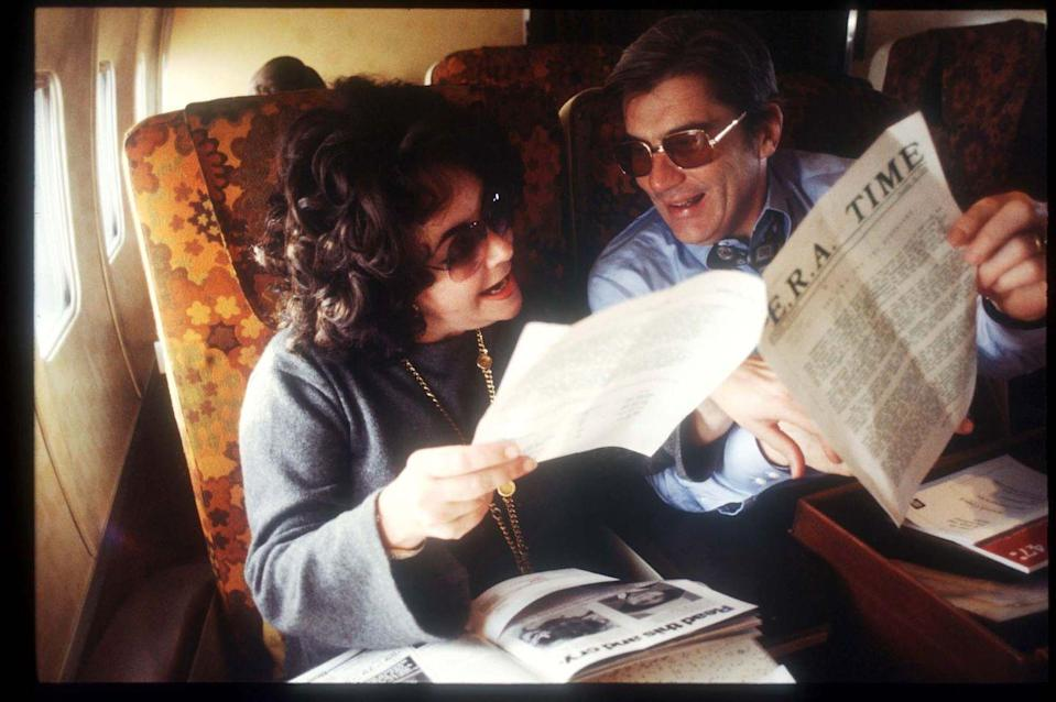 <p>Elizabeth Taylor and husband Senator John Warner during a flight in 1978. </p>