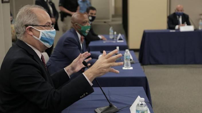 Miami Beach Mayor Dan Gelber speaks during a roundtable discussion Miami-Dade County mayors had Tuesday, July 14, 2020, with Florida Gov. Ron DeSantis regarding COVID-19 at the Stephen P. Clark Government Center in Miami.