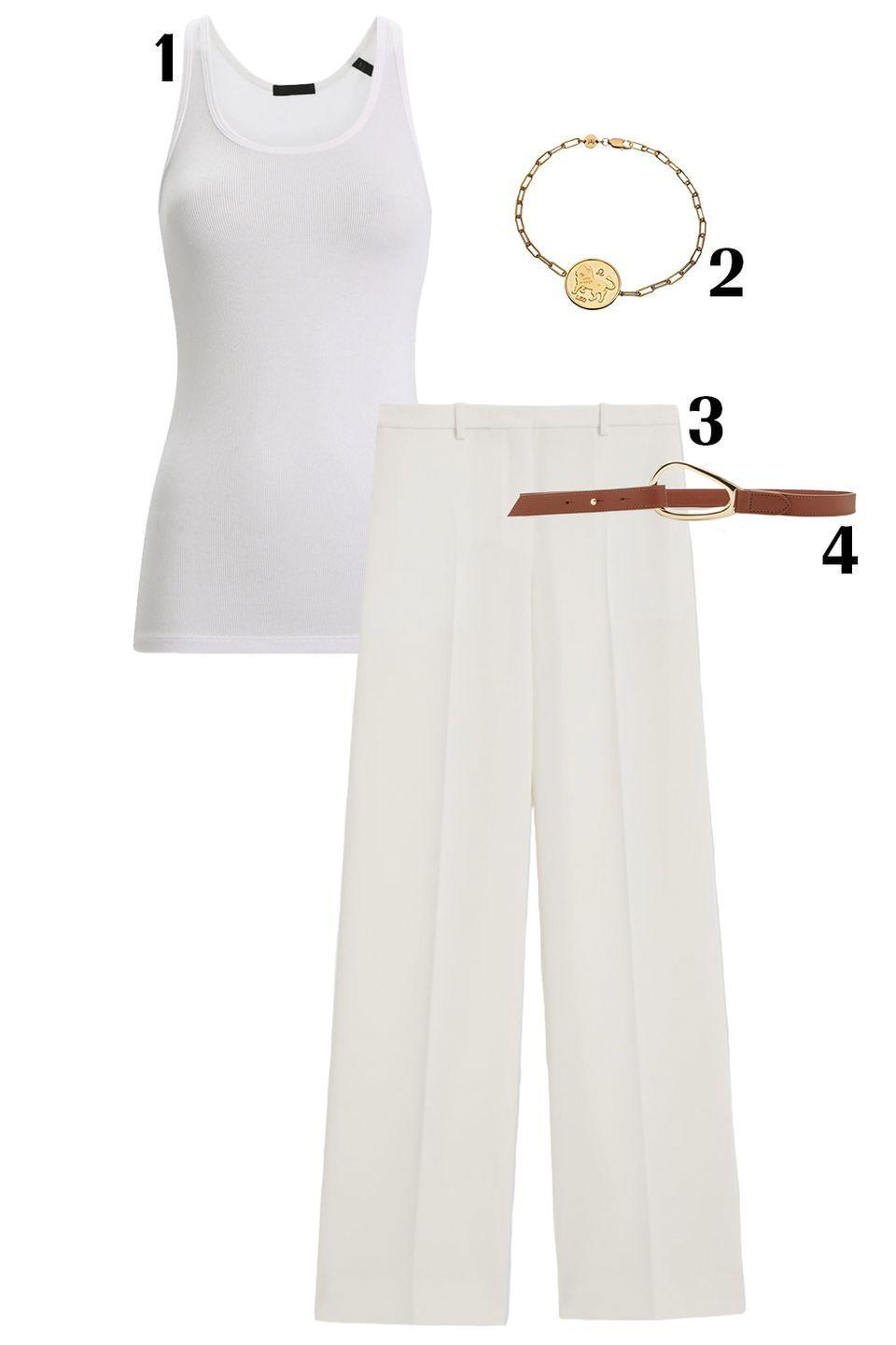 "<p>The color synonymous with summer: white. This all-white look feels both grecian and breezy. Pair light-weight pants with a matching top to create a canvas for your accessories to shine. Editor's note: it's important that your belt and jewelry and any other accessories you add are good quality since the look itself is so minimal. </p><p>1) <a href=""https://www.intermixonline.com/atm-anthony-thomas-melillo/the-boy-rib-knit-tank-top/AW1176+EC+BOY+TNK+WHT.html?irgwc=1&irclickid=T4zQ9-3H5xyOUakwUx0Mo38TUkixOfxlwUjszU0&utm_medium=affiliate&utm_campaign=Shop%20New%20Arrivals&utm_source=ShopStyle%20Inc."" rel=""nofollow noopener"" target=""_blank"" data-ylk=""slk:ATM Anthony Thomas Melillo top"" class=""link rapid-noclick-resp"">ATM Anthony Thomas Melillo top</a>, $98 2) <a href=""https://jenniferzeuner.com/collections/bracelets/products/mathis-bracelet"" rel=""nofollow noopener"" target=""_blank"" data-ylk=""slk:Jennifer Zeuner bracelet"" class=""link rapid-noclick-resp"">Jennifer Zeuner bracelet</a>, $165 3) <a href=""https://www.theory.com/wide-trouser/J1109202.html?gclid=Cj0KCQjwm9D0BRCMARIsAIfvfIbO86POtgmB1TtUvKqKLL8QhlUOA9gv9RDeABTxGrGgIuDBVYAMfeAaAqf8EALw_wcB&glCountry=US&glCurrency=USD&utm_campaign=PLA_Female_NonBrand_DSKTAB_873367601&utm_medium=pla&utm_source=google"" rel=""nofollow noopener"" target=""_blank"" data-ylk=""slk:Theory trousers"" class=""link rapid-noclick-resp"">Theory trousers</a>, $325 4) <a href=""https://www.modaoperandi.com/maison-vaincourt-pf19/skinny-leather-belt?color=brown&material=Leather"" rel=""nofollow noopener"" target=""_blank"" data-ylk=""slk:Maison Vaincourt belt"" class=""link rapid-noclick-resp"">Maison Vaincourt belt</a>, $275 </p>"