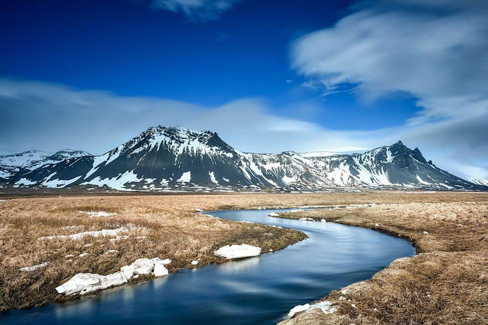 <p>A river flows toward a mountainscape in Iceland // October 10, 2014</p>