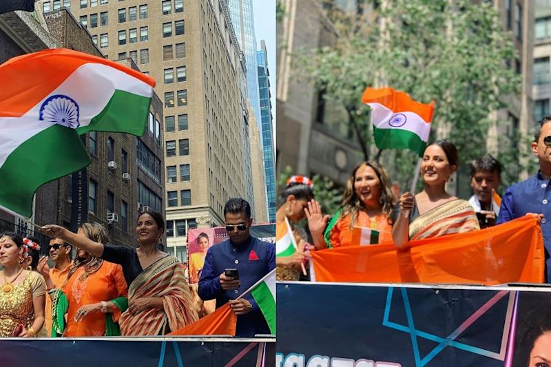 Hina Khan Celebrates Independence Day in New York in Traditional Outfit