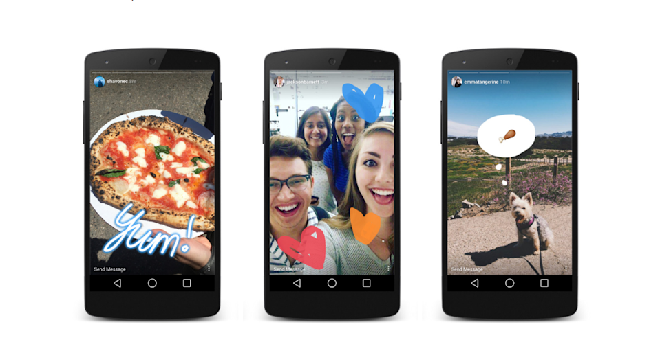 Three smartphones displaying examples of Instagram Stories