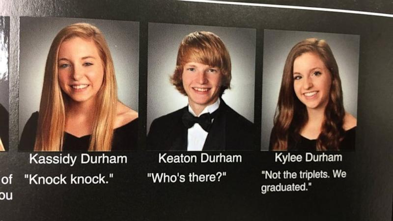 Triplets Use Yearbook Photos as Clever Opportunity for 'Knock Knock' Joke