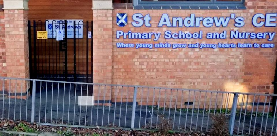Google street view of St Andrew's CofE Primary School, Kettering.  A Kettering school has apologised after employees accidentally broadcast a conversation about how potentially helping with a young pupil's tracheostomy made them feel sick.  See SWNS story SWMDschool.  Three workers at St Andrew's CofE Primary School didn't realise they were inadvertently recording themselves on Facebook Live when they made several comments about six-year-old Willow Musgrave.  In the video, in which Willow was audibly named and has since been viewed 12,000 times online, one worker said: