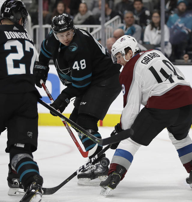 San Jose Sharks' Tomas Hertl (48) fights for the puck with Colorado Avalanche's Samuel Girard, right, during the first period of an NHL hockey game Friday, March 1, 2019, in San Jose, Calif. (AP Photo/Ben Margot)