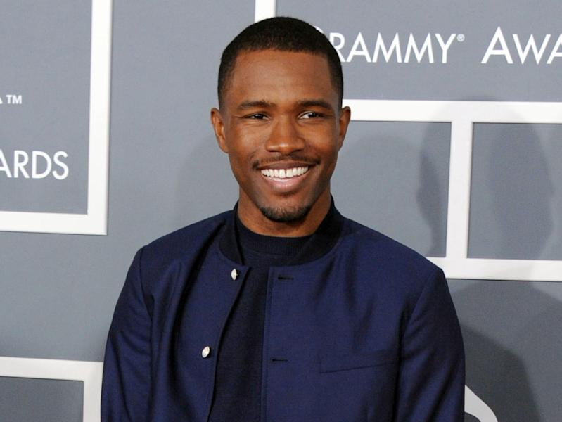 FILE - In this Feb. 10, 2013 file photo, Frank Ocean arrives at the 55th annual Grammy Awards in Los Angeles. Ocean is canceling the rest of his Australian live shows because of a tear on his vocal chords. Live Nation posted on its Facebook page early Friday that the Grammy winner was told by doctors to rest his voice after performing in Melbourne at Festival Hall on Thursday night. (Photo by Jordan Strauss/Invision/AP, File)