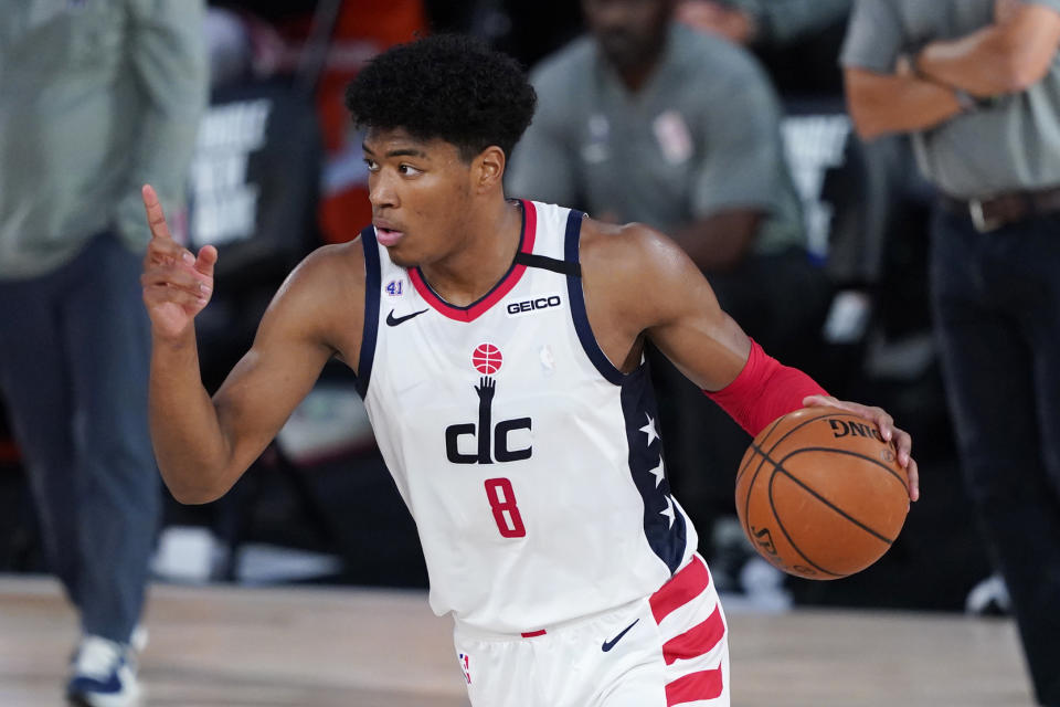 LAKE BUENA VISTA, FLORIDA - AUGUST 11: Rui Hachimura #8 of the Washington Wizards calls for a play during the second half against the Milwaukee Bucks at Visa Athletic Center at ESPN Wide World Of Sports Complex on August 11, 2020 in Lake Buena Vista, Florida. NOTE TO USER: User expressly acknowledges and agrees that, by downloading and or using this photograph, User is consenting to the terms and conditions of the Getty Images License Agreement. (Photo by Ashley Landis - Pool/Getty Images)