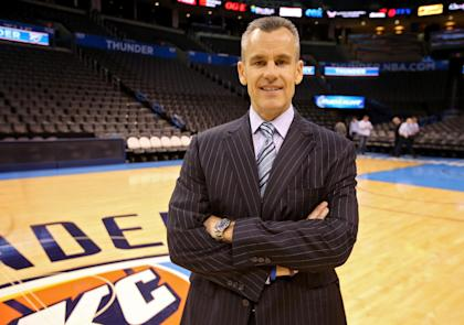 Billy Donovan is welcomed to Chesapeake Energy Arena for the first time on May 01, 2015. (Getty)
