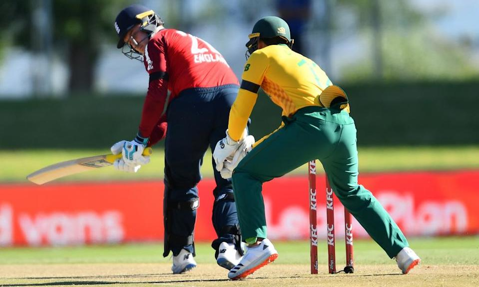 Jason Roy batting in England's second T20 against South Africa