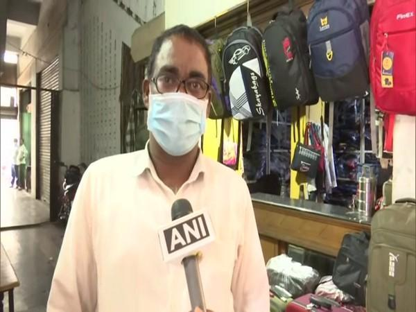 Mohammad Tajuddin, owner of a schoolbag shop in Hyderabad in conversation with ANI(Photo/ANI)