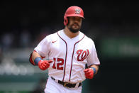 Washington Nationals' Kyle Schwarber rounds the bases after his home run during the first inning of a baseball game against the San Francisco Giants, Sunday, June 13, 2021, in Washington. (AP Photo/Nick Wass)