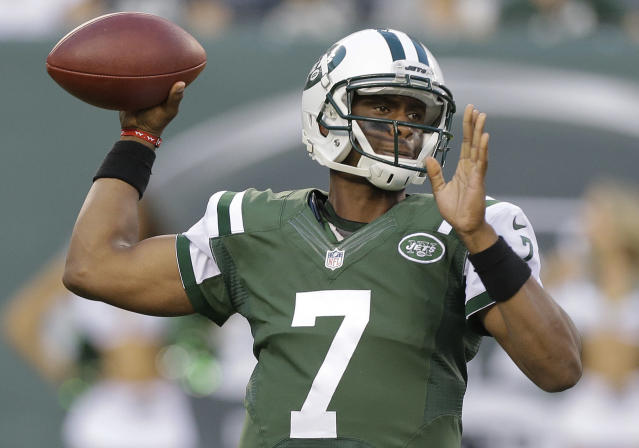 New York Jets quarterback Geno Smith (7) throws against the Indianapolis Colts in the first quarter of an NFL football game, Thursday, Aug. 7, 2014, in East Rutherford, N.J. (AP Photo/Frank Franklin II)