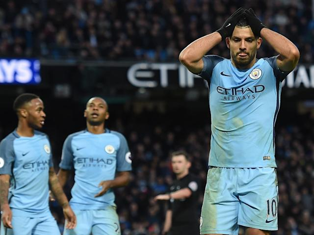 Sergio Aguero missed a simple chance to win the game for Manchester City late on: Getty
