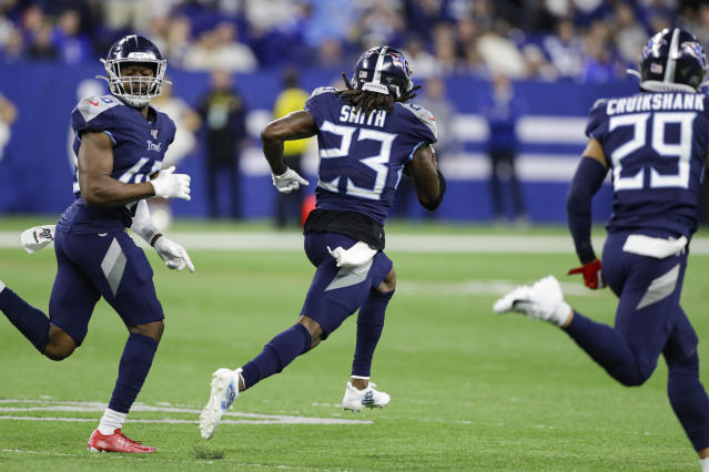 Tennessee Titans cornerback Tye Smith (23) runs back a blocked field goal for a touchdown against the Indianapolis Colts during the second half of an NFL football game in Indianapolis, Sunday, Dec. 1, 2019. (AP Photo/Darron Cummings)
