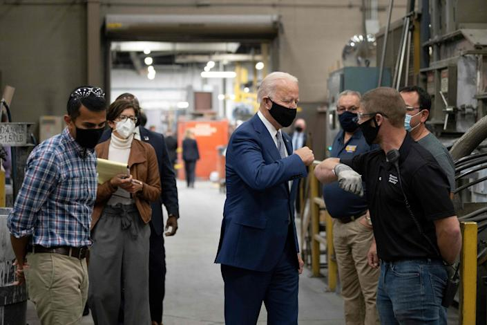 Former Vice President Joe Biden has painted President Donald Trump as an adversary to blue-collar workers.