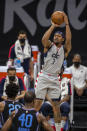 Washington Wizards guard Bradley Beal (3) shoots a basket against the Washington Wizards during the second quarter of an NBA basketball game in Sacramento, Calif., Wednesday, April 14, 2021. (AP Photo/Hector Amezcua)