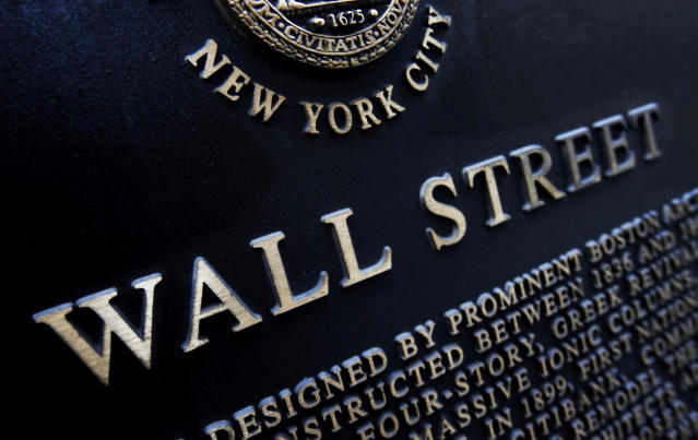 Historic marker on Wall Street in New York. (AP Photo/Mark Lennihan)