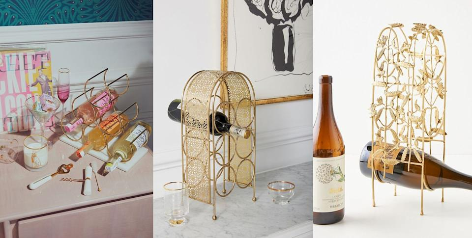 Cheers to these small, but cute, countertop wine racks 🍷 (Photo: HuffPost )