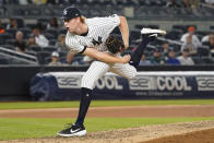New York Yankees' pitcher Stephen Ridings delivers in the seventh inning of the team's baseball game against the Baltimore Orioles, Tuesday, Aug. 3, 2021, in New York. (AP Photo/Mary Altaffer)
