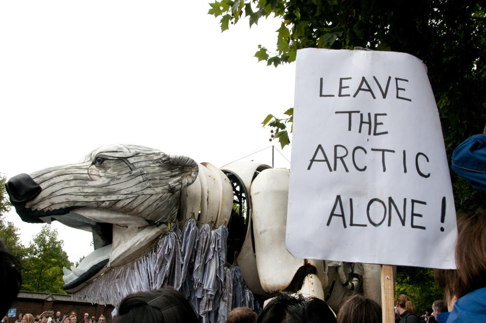 Many environmental groups have held demonstrations to raise awareness of the polar bears' plight. This photo shows demonstrators protesting against oil companies that extract oil in the North Pole. (In Pictures Ltd./Corbis via Getty Images)