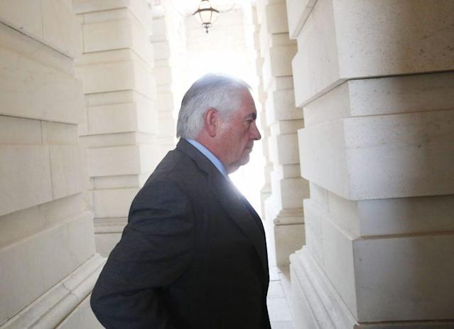 Secretary of State Rex Tillerson arriving at the Capitol, July 20, 2017. (Photo: Mark Wilson/Getty Images)