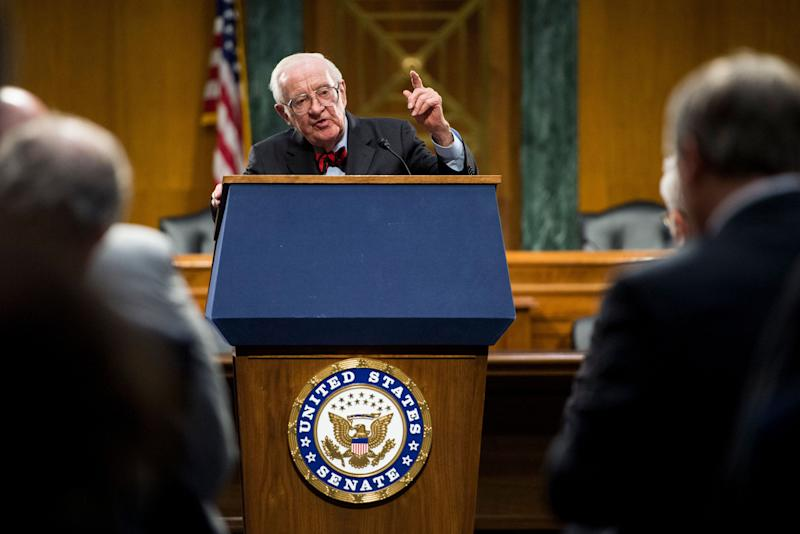 Retired Justice Stevens speaks after receiving the Paul H. Douglas Award for Ethics in Government on April 29, 2014, in the Dirksen Senate Office Building.