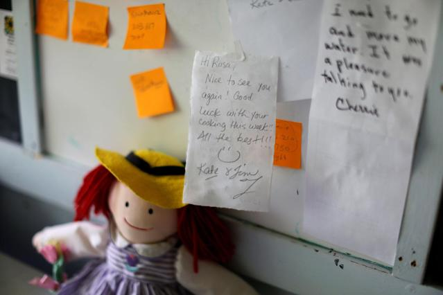 <p>Messages of support are seen in the bedroom of immigrant Rosa Sabido who lives in sanctuary in the United Methodist Church while facing deportation in Mancos, Colo., July 19, 2017. (Photo: Lucy Nicholson/Reuters) </p>