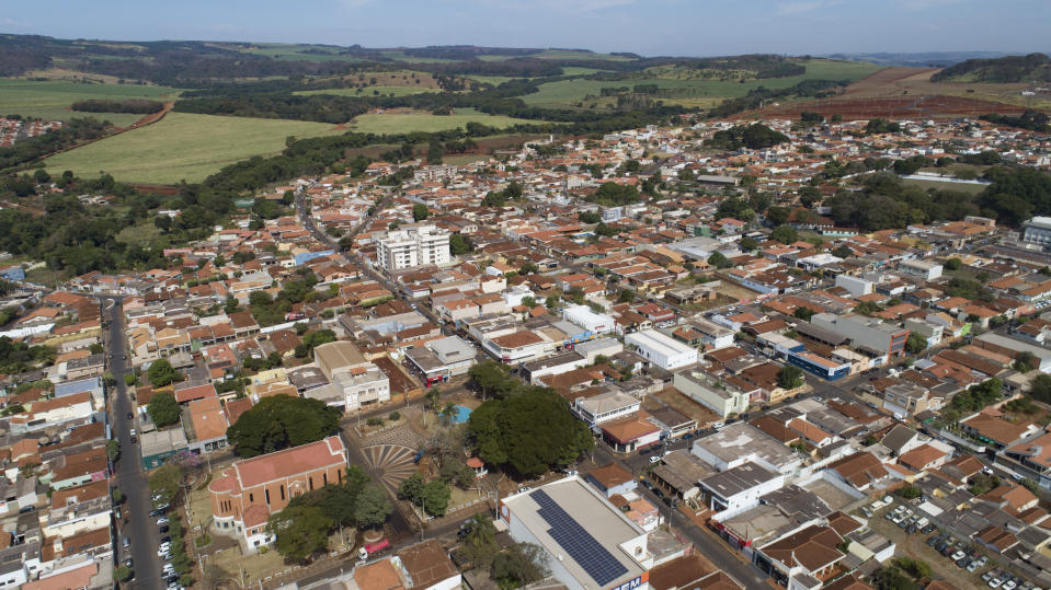 An aerial view of Serrana, Sao Paulo state, Brazil, Friday, May 28, 2021. Brazil's Butantan Institute has finished a mass vaccination of the city's entire adult population with doses of Sinovac, to test the new coronavirus' behavior in response to the vaccine. (AP Photo/Andre Penner)