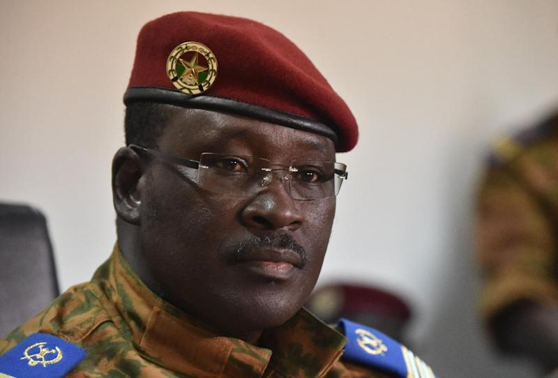 A picture taken on November 6, 2014 shows Burkina Faso's Prime Minister Isaac Zida during a press conference in Ouagadougou