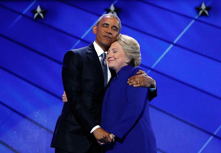<p>JUL. 27, 2016 — President Barack Obama hugs Democratic Presidential candidate Hillary Clinton after addressing the delegates during the third day session of the Democratic National Convention in Philadelphia. (Carolyn Kaster/AP) </p>