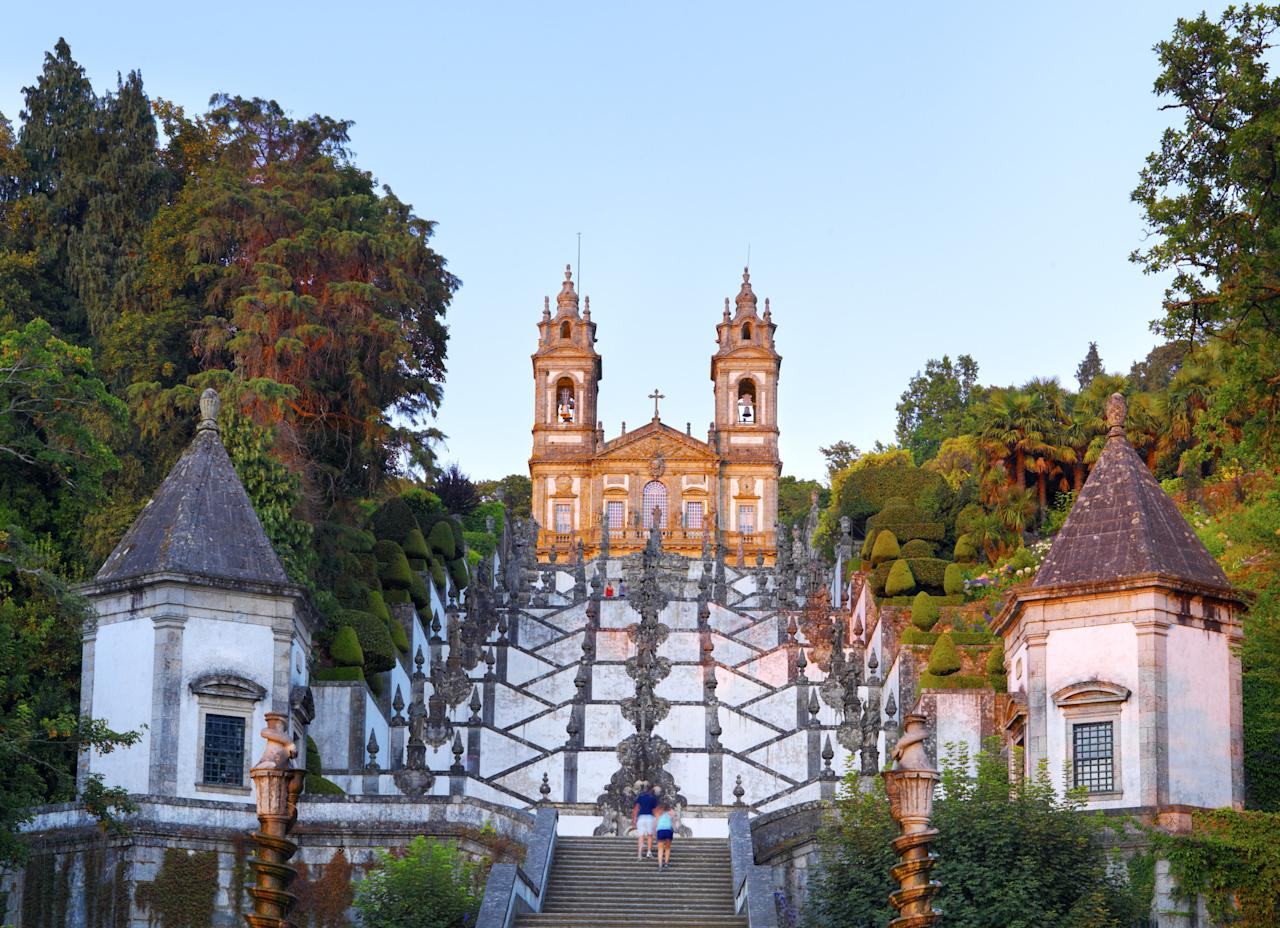 Completed in 1772, visitors who want to ascend to the top of Bom Jesus do Monte Church (Good Jesus of the Mount) have to endure 381 feet of climbing. The Baroque stairway is iconic for many reasons, not least of all for its zigzag pattern. In July of 2019, Bom Jesus do Monte Church was named as a UNESCO World Heritage Site.