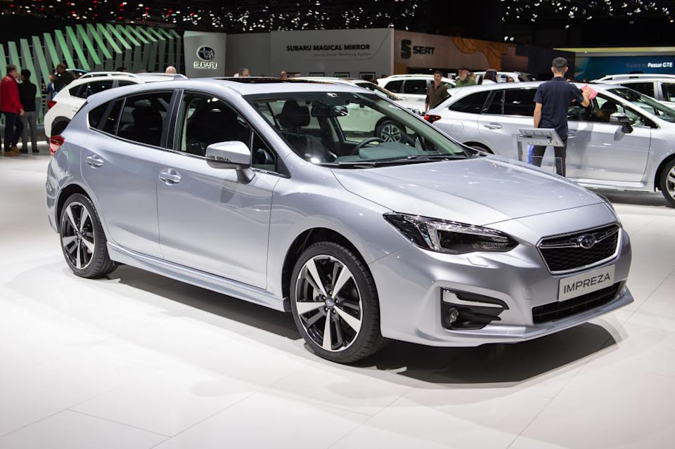 Subaru Impreza is displayed during the second press day at the 89th Geneva International Motor Show on March 6, 2019 in Geneva, Switzerland.